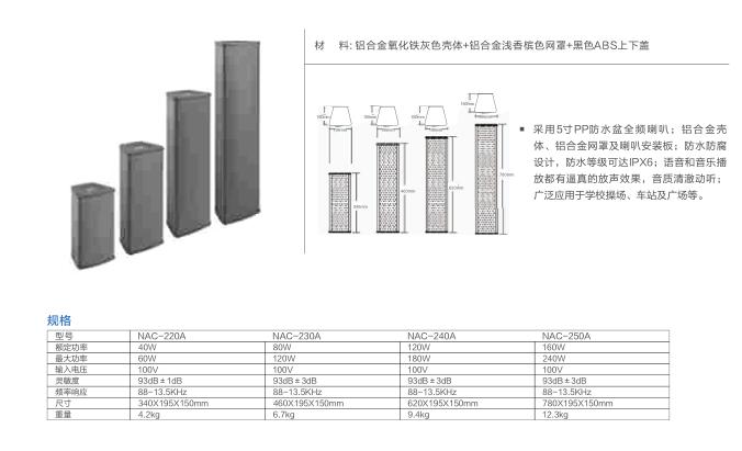 室外防水音柱(大功率) NAC-2