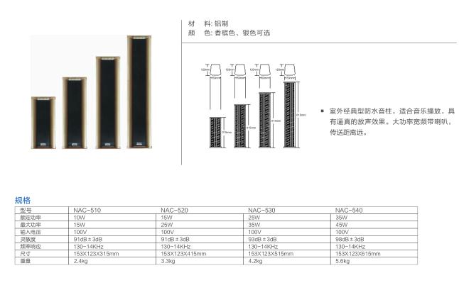 室外防水音柱 NAC-510/520/5